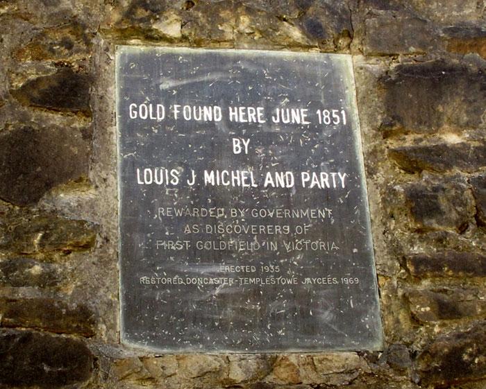 gold mine plaque warrandyte